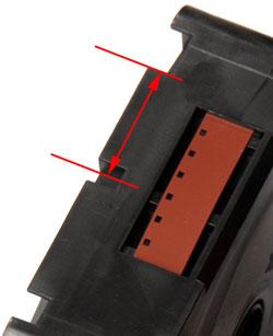 Maßgeblich für die Empfindlichkeitsbestimmung ist der Abstand zwischen Kassettenmitte und Unterkante der Kerbe.