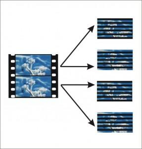 PSF-Aufzeichnung: Ein Vollbild wird zeilenweise in zwei Halbbilder mit um 50% reduzierter Auflösung gespeichert. Bei der Wiedergabe werden diese wieder zusammengefügt, so dass wieder ein Vollbild mit voller Auflösung entsteht.